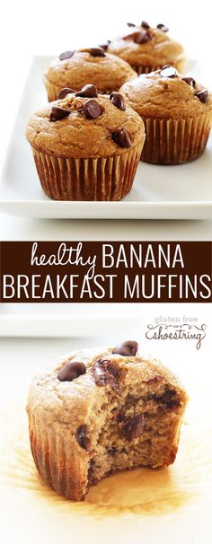 These super healthy gluten free banana breakfast muffins are made with no butter, no oil and no added refined sugars. Make the batter in the blender! http://glutenfreeonashoestring.com/healthy-gluten-free-banana-breakfast-muffins/