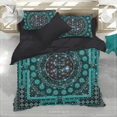 Spiritual galaxy yoga bedding, Sacred Flower of Life Om galaxy duvet cover set, spiritual bedspread - ARTBEDDING