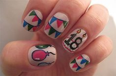 I am putting forward happy birthday nail art designs & ideas of 2014 that would grab your interest and attention. Make bows, hearts, glitters, balloons and cupcakes on your nails & give a total birthday look to your nails. Birthday Nail Art, Birthday Nail Designs, Birthday Design, Birthday Crafts, Nail Art Designs, Simple Nail Designs, Nailart, Bright Red Nails, Today Is My Birthday