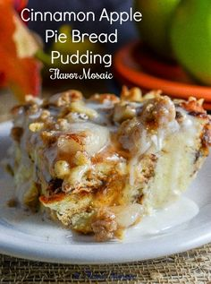 Cinnamon Apple Pie Bread Pudding is a simple yet delicious dessert or breakfast that tastes like a combination of apple pie and cinnamon rolls.