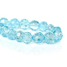 8mm Faceted BABY BLUE BLUE Crackle Glass Beads, double strand, over 100 beads  bgl1114 by SmartParts on Etsy