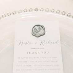 Wedding Thank You Menu Wax Seal Place Setting Modern Wedding Business Events, Papers Co, Place Setting, Wax Seals, Wedding Thank You, Encouragement, Stationery, Menu, Place Card Holders