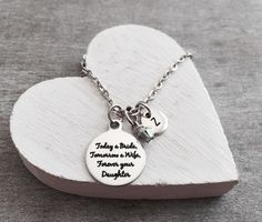 Today a Bride, Forever your Daughter, Mother of the Bride, Mom of the bride, Step mom, Silver Necklace, Charm Necklace, Keepsake, gifts for by SAjolie, $21.75 USD