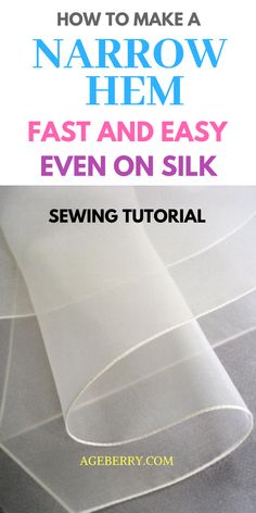 If you like sewing clothes you need to know different ways to sew a narrow hem. Learn how to hem difficult fabrics (like silk) with this detailed sewing tutorial ( plenty of useful images and video).#sewing #sewingtutorial #sewingtips #sewingproject