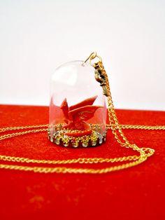 OOAK dragon necklace - The Hobbit - Smaug & his treasure glass terrarium
