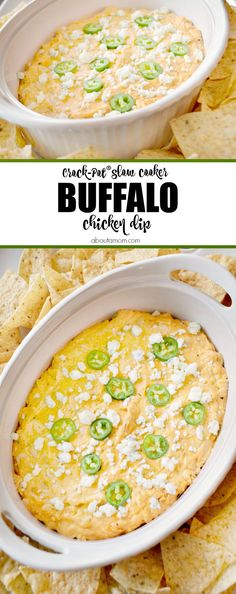 This cheesy and delicious Crock-Pot Slow Cooker Buffalo Chicken Dip is perfect for your next game day gathering or party. It encompasses all the flavors of your favorite buffalo chicken wings.