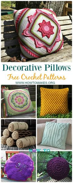 Collection of Crochet Decorative Pillow Free Patterns: Crochet Lumber Pillow, Mandala Pillow, Cable Pillow, Bobble, In Bloom Trending Pillow and more