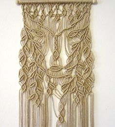 "FREE WORLDWIDE SHIPPING Macrame wall hanging - Dryad - unique handmade panel for home decor. Handmade and original design by Evgenia Garcia. Color: tan Sizes: Dowel width – 16.5 (42 cm) Panel height from dowel to longest end – 56.5"" (143.5 cm) Cord diameter 4 mm NOTE: 1. The colors on your display may differ slightly from actual colors. 2. Clean the dust with a soft brush gently. If you have any questions about this item - please contact me. I am ready to help you at an..."