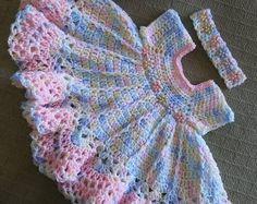 Best 12 Hand crochet multicolored baby dress set with velvet flowers Crochet Baby Dress Pattern, Baby Dress Patterns, Baby Girl Crochet, Crochet Baby Clothes, Newborn Crochet, Crochet Chart, Crochet For Kids, Baby Knitting Patterns, Hand Crochet