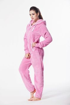 Plüsch Overall von Nordic Way Jumpsuit Sportanzug Hausanzug Hoodie in Rosa Pajama Outfits, New Outfits, Casual Outfits, Cute Outfits, Cuddle Duds, Overall Jumpsuit, Cosy Outfit, Teddy Bear Clothes, Victoria Secret Outfits