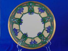 "Haviland Limoges Arts & Crafts Grape Motif Plate (Signed ""Alberta McCain""/c.1894-1931)"