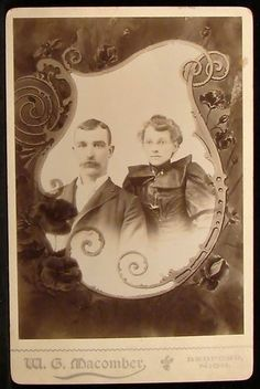 Cabinet Photo Young Couple Man Woman Memorial Scroll by Macomber Bedford MI | eBay