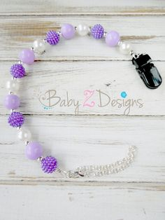 Purple Lavender and White Pearl Beaded Pacifier Clip by babyzdesigns, $9.99
