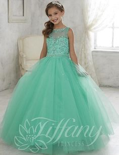 Beautiful Mint Green Ball Gown Girls Pageant Dresses lace up back kids pageant prom gowns 2016 Lovely flower girl dress jewel custom made Toddler Pageant Dresses, Beauty Pageant Dresses, Little Girl Pageant Dresses, Pageant Gowns, Toddler Dress, Kid Dresses, Pagent Dresses For Kids, Pretty Dresses For Kids, Girls Princess Dresses