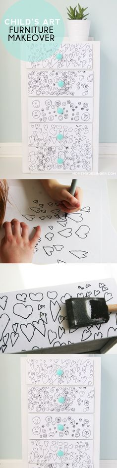 Take a kids drawing and transform a piece of furniture into something fun and funky. A great way to preserve child's artwork forever. Perfect for a nursery or child's room! Playroom Furniture, Kids Furniture, Painted Furniture, Diy Arts And Crafts, Diy Crafts, Diy For Kids, Crafts For Kids, Decoupage, Drawing Furniture