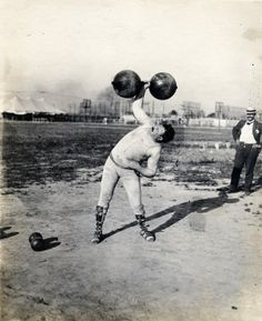 Fred Winters, New York, winner of the dumbbell competition at the 1904 Olympics. Photograph by Jessie Tarbox Beals. Missouri History Museum.