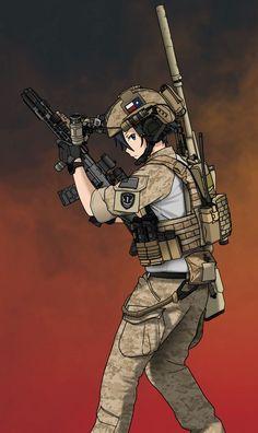 Thai.o.g anime Anime Military, Military Girl, M Anime, Kawaii Anime, Manga Girl, Anime Art Girl, Fille Anime Cool, Guerra Anime, Character Art