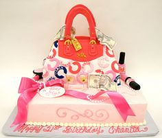 Coach Purse and Accessories Cake  www.realbuttercream.com