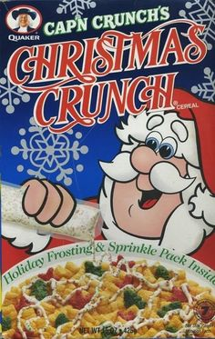 Christmas Crunch 1995 ©Quaker Oats Co.I freakin loved this cereal. But they didnt give enough of that creamy sprinkly stuff that was in the packet lol. Hey I wasn't the only little kid in the house that liked this! Christmas Crunch, Christmas Ad, Barney Christmas, Retro Recipes, Vintage Recipes, Kids Cereal, Cereal Boxes, Crunch Cereal, Cap'n Crunch