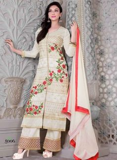 Prime Beige Embroidery Resham Work With Pakistani Suit