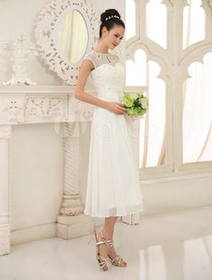 Ivory Chic Tea Length A Line Chiffon Wedding Gown With Jewel Neck Sequin