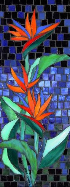 Mosaic birds of paradise Stained Glass Patterns, Mosaic Patterns, Stained Glass Art, Stained Glass Designs, Stained Glass Panels, Mosaic Artwork, Mosaic Wall, Mosaic Glass, Mosaic Mirrors