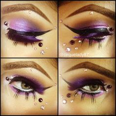 Pretty purple eye shadow with dramatic black eye liner and various sizes of rhinestone accents.