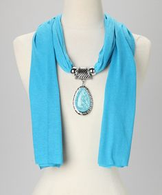 over a summer white Tee??.....Take a look at this Blue Teardrop Pendant Scarf by Suvelle on #zulily today!