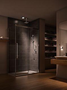 Collection K-MOTION ; Une porte s'ouvre sur la quiétude. / K-MOTION collection ; Open the door to your very own quiet oasis of peace. #bathroom #shower #douche