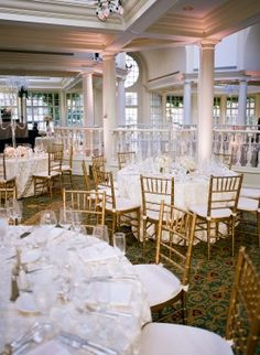 colonnade reception table  from DC Garden Wedding at Fairmont Hotel   Photo: Hannah Hudson Photography