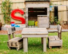 We make our kids table and chairs from recycled apple crate wood. Come check us out for more outdoor kids play stuff.