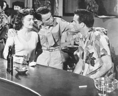 """Donna Reed, Frank Sinatra, and Montgomery Clift in """"From Here to Eternity"""" Donna Reed - Best Supporting Actress Oscar 1953 Fred Zinnemann, James Jones, From Here To Eternity, Montgomery Clift, Donna Reed, Screen Test, Pearl Harbor Attack, Movie Blog, Classic Movie Stars"""