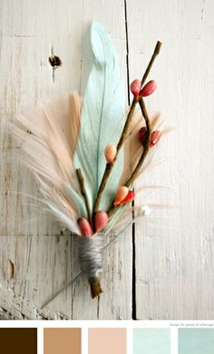brown, the lightest of warm pink, white, silver blue, and a touch of coral.
