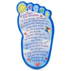 I was looking for craft ideas for Vacation Bible School and I thought this was super cute. It is a more kid friendly poem of Footprints in the Sand.