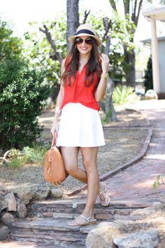 Skirt: Shop Street Chic c/o // Top: Nordstrom, similar Here // Bracelet: Recherche c/o // Watch: Michael Kors  // Bag: Urban Peach Boutique c/o // Sandals: Onex // Hat: J.Crew
