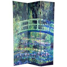 6 ft. Tall Double Sided Works of Monet Canvas Room Divider - Water Lily/Garden - OrientalFurniture.com