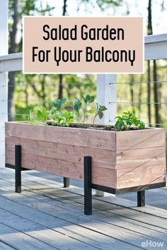 Grow all the things you need for a healthy, beautiful salad right on your balcony. Big or small spaces alike, you can build this raised garden bed to go anywhere you need it to! DIY planter box here:  http://www.ehow.com/how_12343296_build-grow-salad-garden-balcony.html?utm_source=pinterest.com&utm_medium=referral&utm_content=freestyle&utm_campaign=fanpage