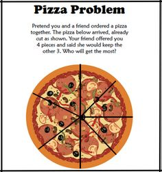 Classroom Freebies: Free – It's Really Easy to See Fractions with Pizza!