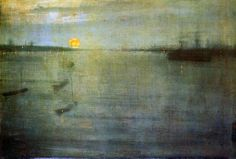 James McNeill Whistler — Nocturne Sun, Painting: oil on canvas. James Abbott Mcneill Whistler, Claude Monet, Nocturne, Abstract Landscape, Landscape Paintings, Sunset Paintings, Oil Paintings, Art For Art Sake, Vincent Van Gogh