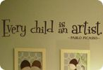 Every Child is an Artist....great idea for the green wall with our masterpiece showcase