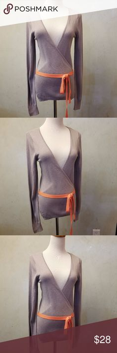 Gap wrap cardigan in perfect condition gray wrap cardigan with an orange belt GAP Sweaters Cardigans