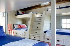 Design Chic How about the drawers under the steps?!! Brilliant beyond!  great idea!! and more storage under the beds!  this could be on a boat!  sure works for a house!