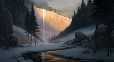 Distant waterfall, Rafal Banasiak on ArtStation at https://www.artstation.com/artwork/DBOrE