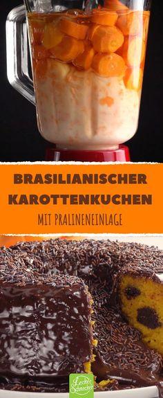 Karottenkuchen brasilianischer Art mit eingebetteten, selbst gemachten Pralinen und Schokosee! #leckerschmecker #rezept #backen #brasilien #brasilianisch #karotte #möhre #möhrenkuchen #dessert #nachtisch #schokolade #flüssig #pralinen #kakao #kondensmilch #glasur #brigadeiros #konfekt #schokostreusel #saftig #international #carrotcake #torte #essen #genießen #genuss