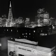 San Francisco downtown at night, looking south from Vallejo and Powell street, North Beach Garage (1987) 30 second exposure, Rolleicord V with Ilford FP4 film, Dave Glass photog.