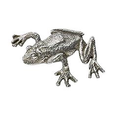 Pewter ~ Tree Frog Climbing ~ Lapel Pin / Brooch ~ A062. Hand Sculpted & Hand Cast for Genuine Hand Crafted Quality by American Artisians. Creative Pewter Designs Lapel Pins. Hand Made in the USA. Fine English Lead-Free Pewter. Perfect for Men & Women of all Ages.