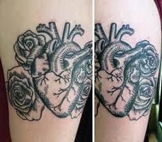 Poppycock Tattoo & Piercing - Anatomical Heart and Roses Woodcut Tattoo Classy Tattoos, Trendy Tattoos, Unique Tattoos, New Tattoos, Tattoos For Guys, Tattoos For Women, Forearm Tattoos, Sleeve Tattoos, Create A Tattoo