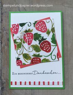 Stempelmittwoch im Juni 2016 Erdbeeren, SU DSP Obstgarten, SU Florale Grüße