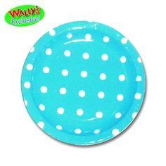 Robins Egg Blue Dainty Dots & Stripes Polka Dot Paper Dessert Plates 8ct