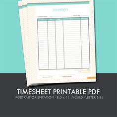 Timesheet Printable  Small Business Planner | Visit me at freshpaperie.com to sign up for my newsletter and receive FREE printables in your inbox regularly.